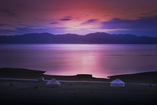 Sunrise on Sayram Lake, Xingjiang