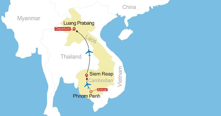cambodia and laos map Cambodia To Laos Tour Travel To Cambodia Laos cambodia and laos map