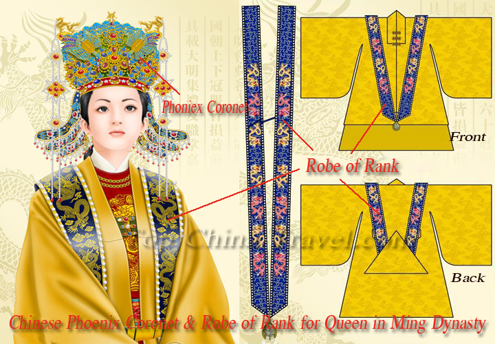 chinese phoniex coronet & robe of rank for queen in ming dynasty