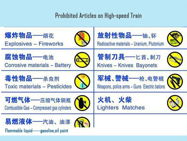 prohibited articles on high-speed train