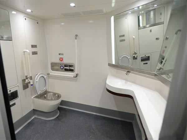 washing room on high-speed train
