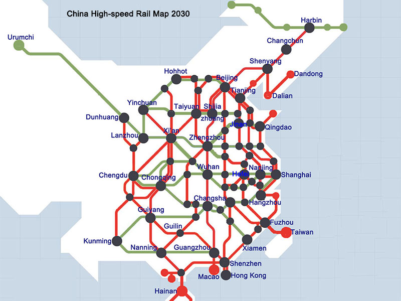 china high-speed rail network map