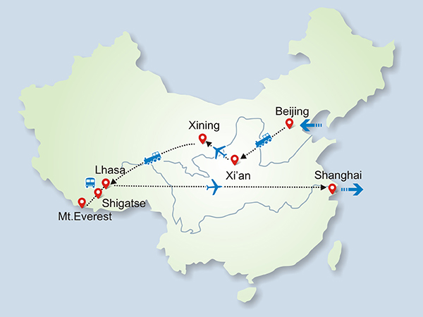18 Days Tour to Mt. Everest by Qinghai-Tibet Train