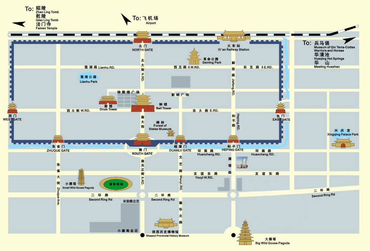 Xian Attractions Map