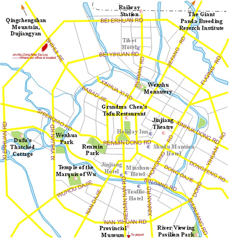 Chengdu Maps Map of Chengdu China Chengdu Tourist mapsChengdu