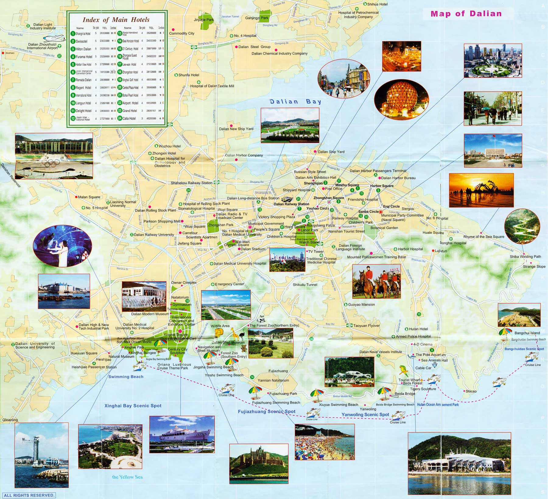 Dalian Tourist Map Dalian Tourist Attractions Map Dalian – Tourist Attractions Map In China