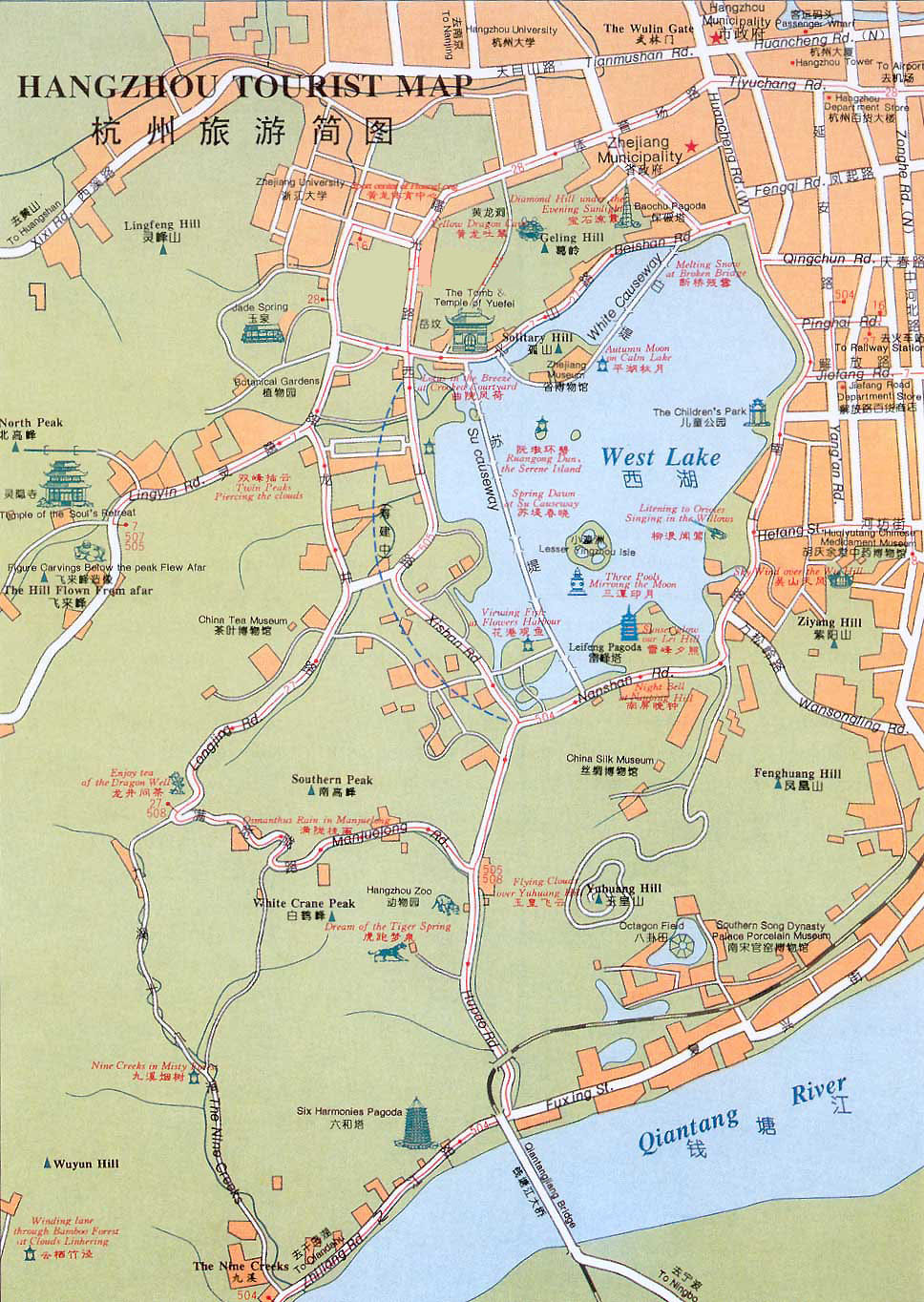 Hangzhou China Map Hangzhou Maps, Map of Hangzhou China, Hangzhou Tourist maps