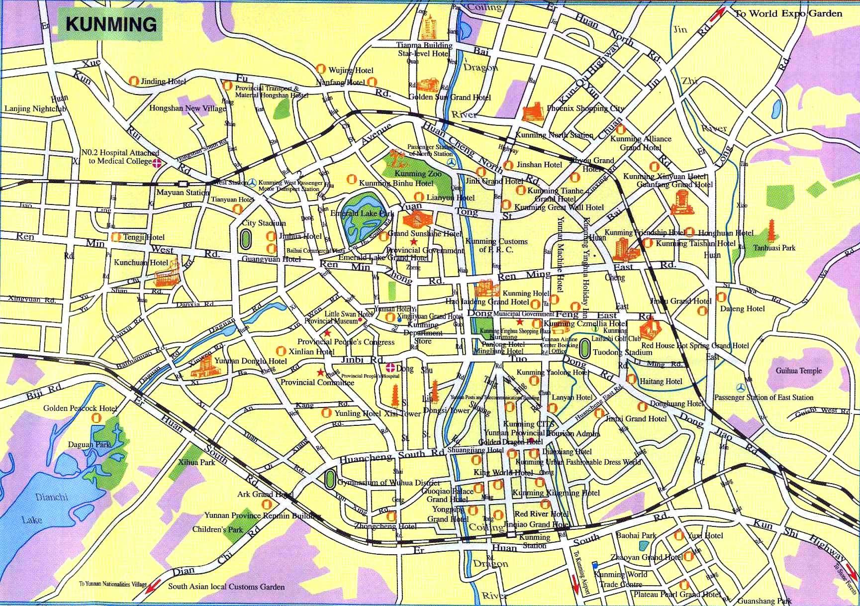 Kunming tourist map
