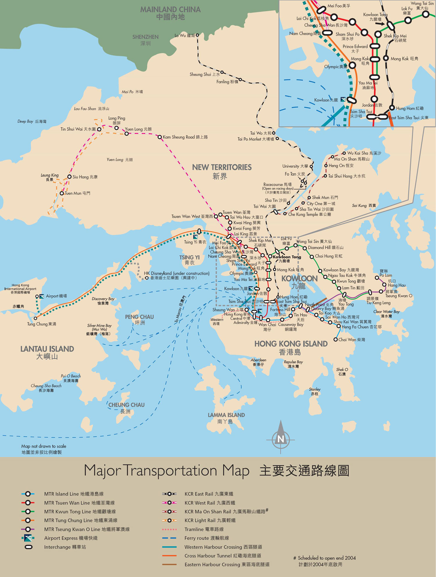 Hong Kong Maps Map Of Hong Kong China Hong Kong Tourist Maps - Physical map of china 2004
