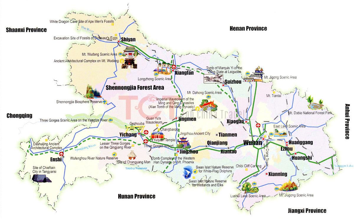 Hubei Maps Map Of Hubei China Hubei Province MapsHubei Tourist Map - Enshi map