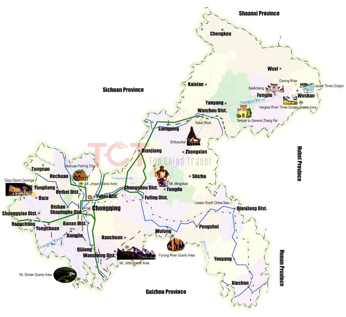 Chongqing Maps Map of Chongqing China Chongqing Tourist maps