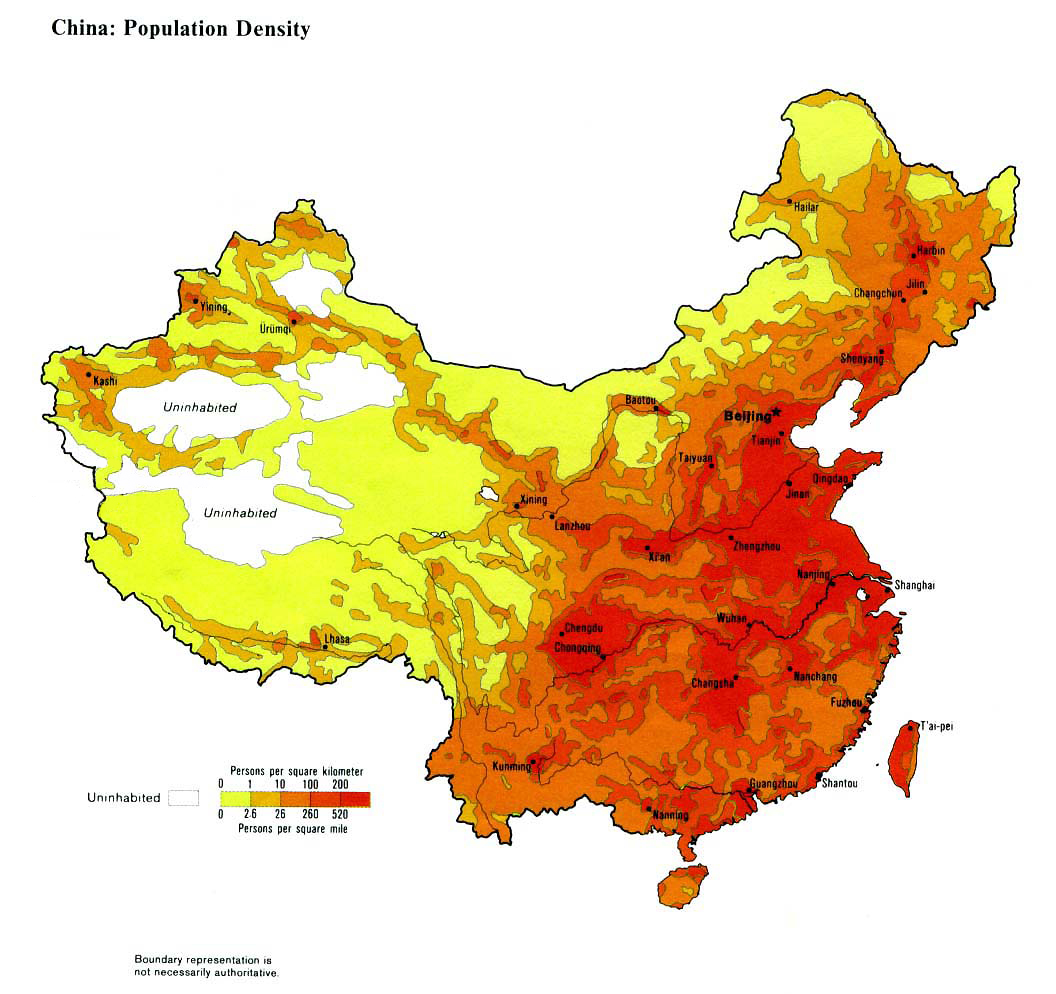 China Population Density Map