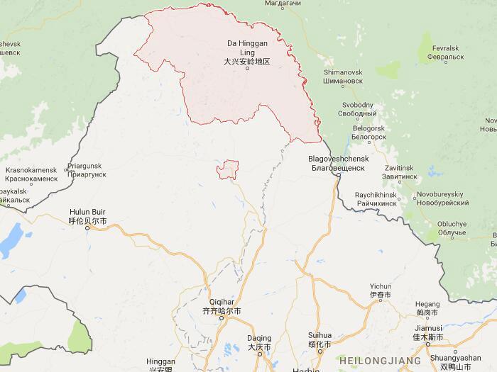 location greater khingan mountains