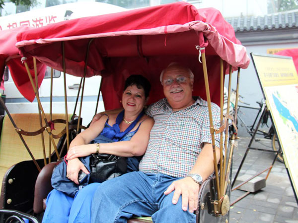 Our Clients taking Hutong Tour by rickshaw