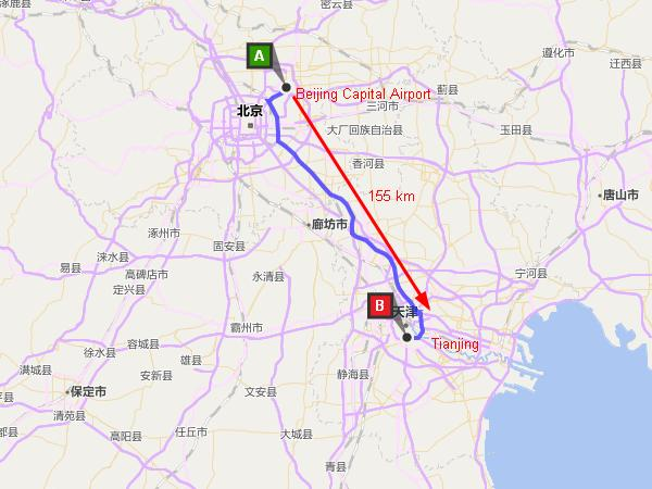 Beijing Airport to Tianjin Map