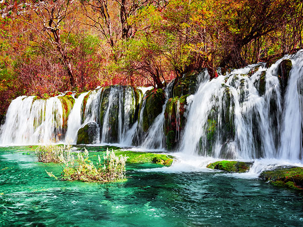 Most Famous Waterfalls in China - Waterfall in Jiuzhaigou Valley