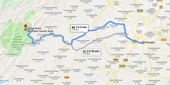 How to get to xiling snow mountain from Chengdu