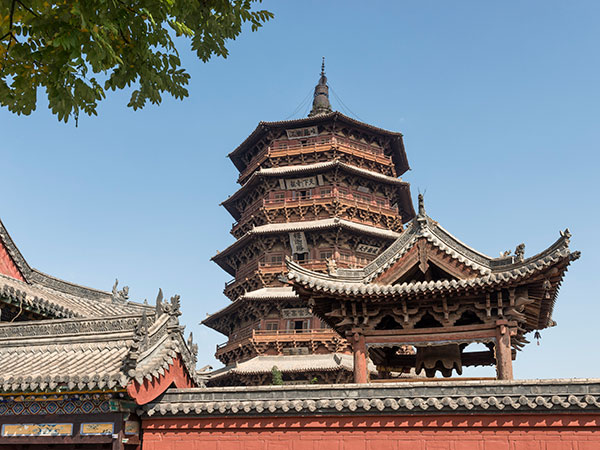 sakyamuni pagoda of fogong temple, shanxi province china