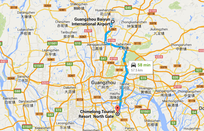 How to Get to Chimelong Tourist Resort from Guangzhou Baiyun Airport