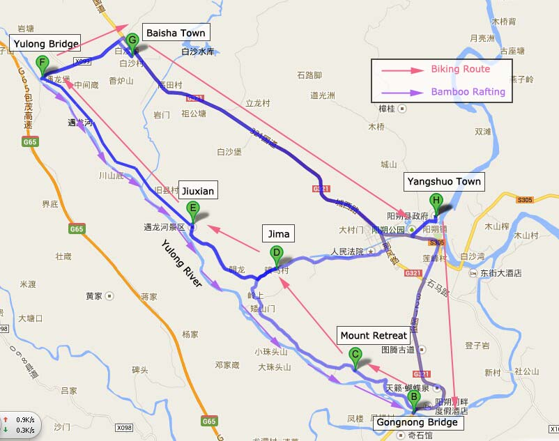Top Yangshuo Countryside Biking Routes Yangshuo Cycling Tour Map