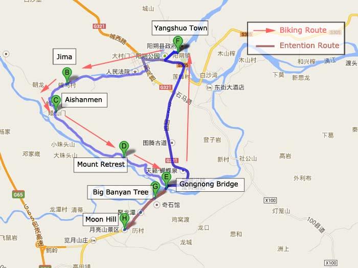Yangshuo Biking Tour Map