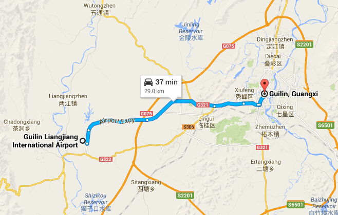 Transfer from Guilin Airport to the Downtown