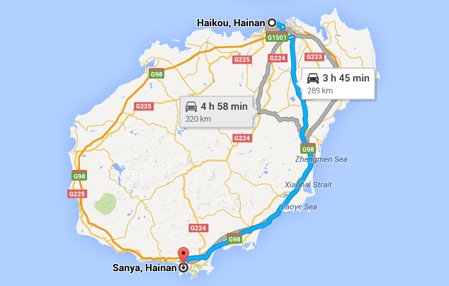 Travel from Haikou to Sanya