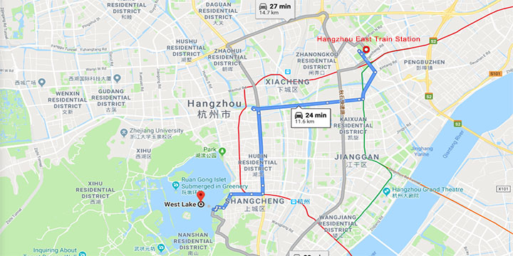 get to west lake from hangzhou east railway station