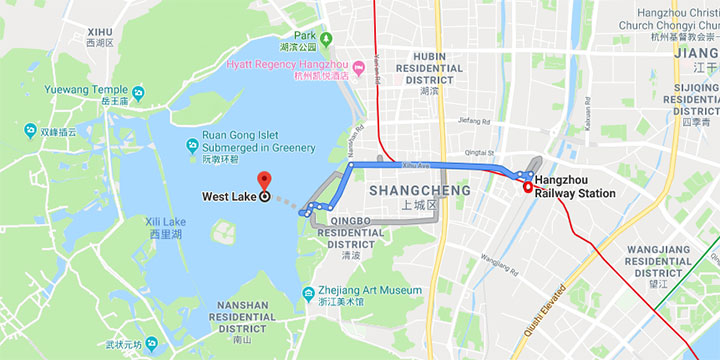 get to west lake from hangzhou railway station