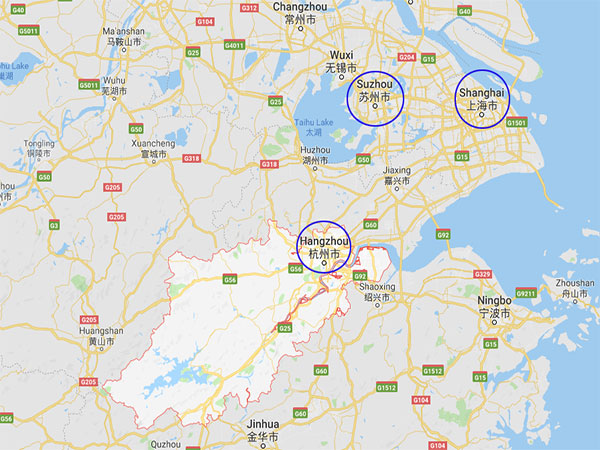 map of Shanghai, Suzhou and Hangzhou