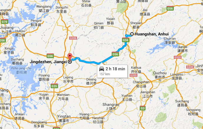 How To Travel From Huangshan To Jingdezhen By Train Bus - Jingdezhen map