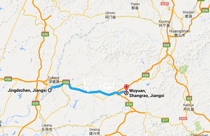 How To Get To Wuyuan From Jingdezhen Bus From Jingdezhen To Wuyuan - Jingdezhen map