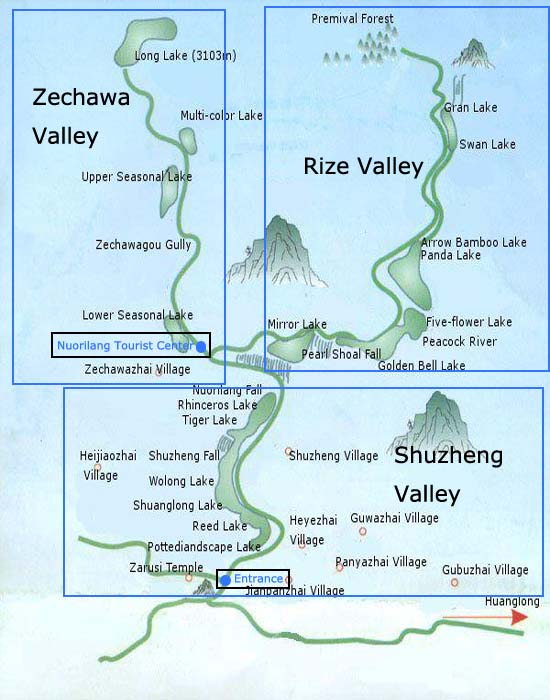 Jiuzhaigou Valley Map