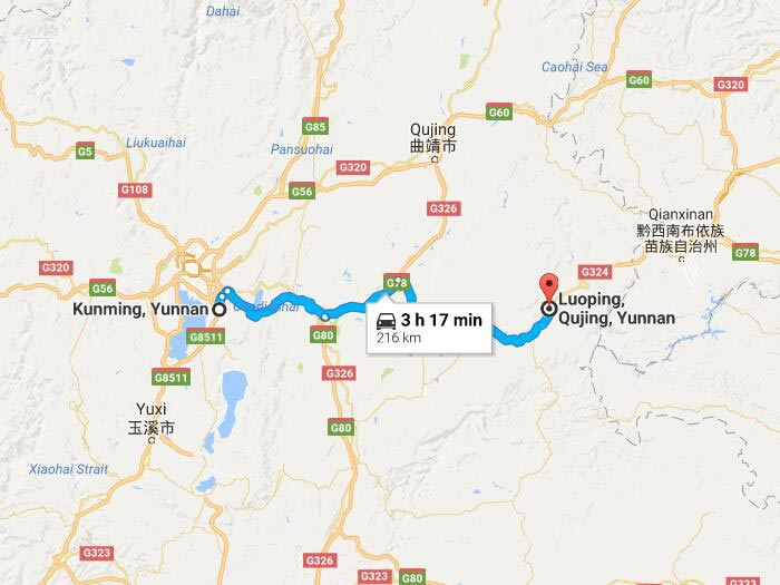Luoping Travel See Canola Flower Ocean In Yunnan China - Qujing map