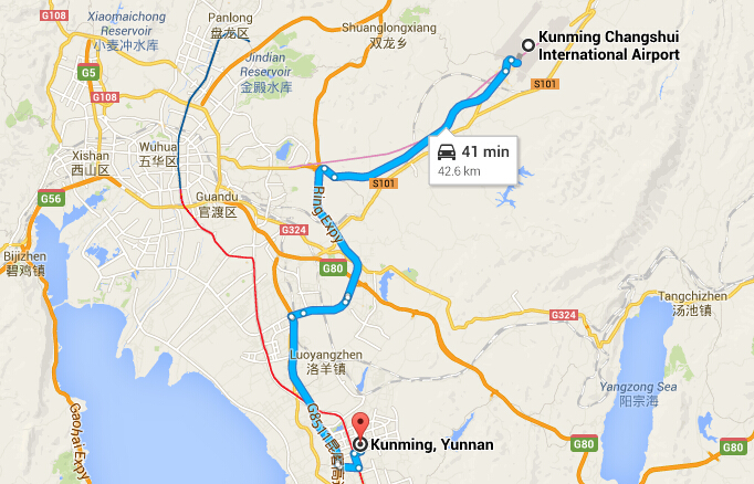Transfer from Kunming Airport to the Downtown