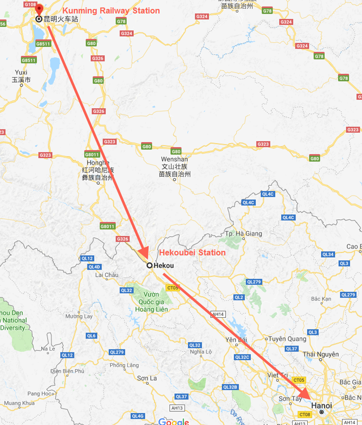 how to get to hanoi from kunming--route on map