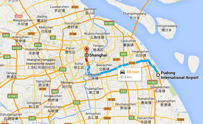 Shanghai Pudong Airport to City Center by Bus Taxi Metro Meglev