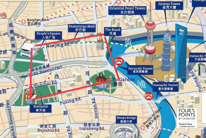 most popular staying area suggested for shanghai tourists