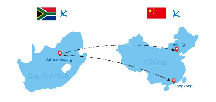 South Africa to China direct flights