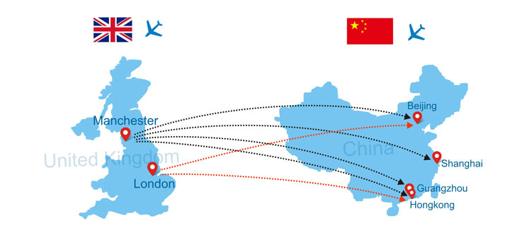 direct flights to China from London
