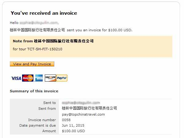 How To Pay By PayPal Pay To Topchinatravel Through PayPal - Invoice through paypal