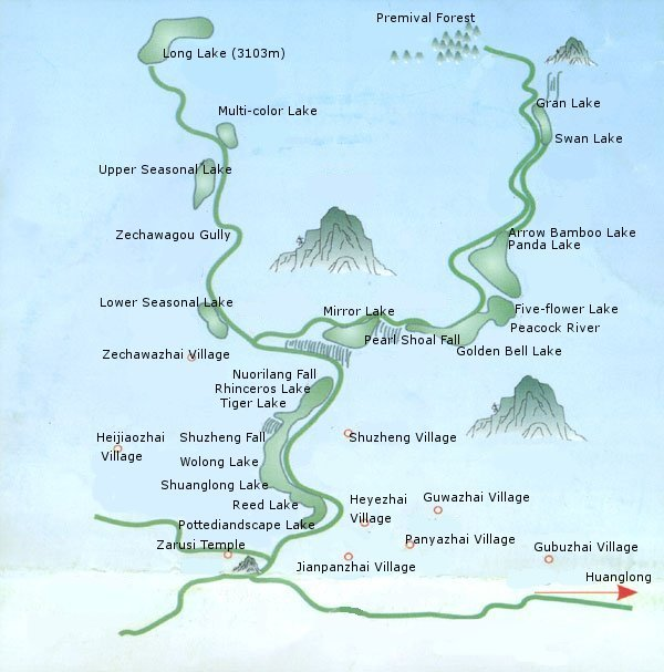 Map of Jiuzhaigou Valley