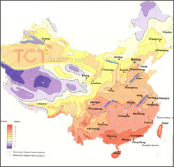 Average annual temperature map of China