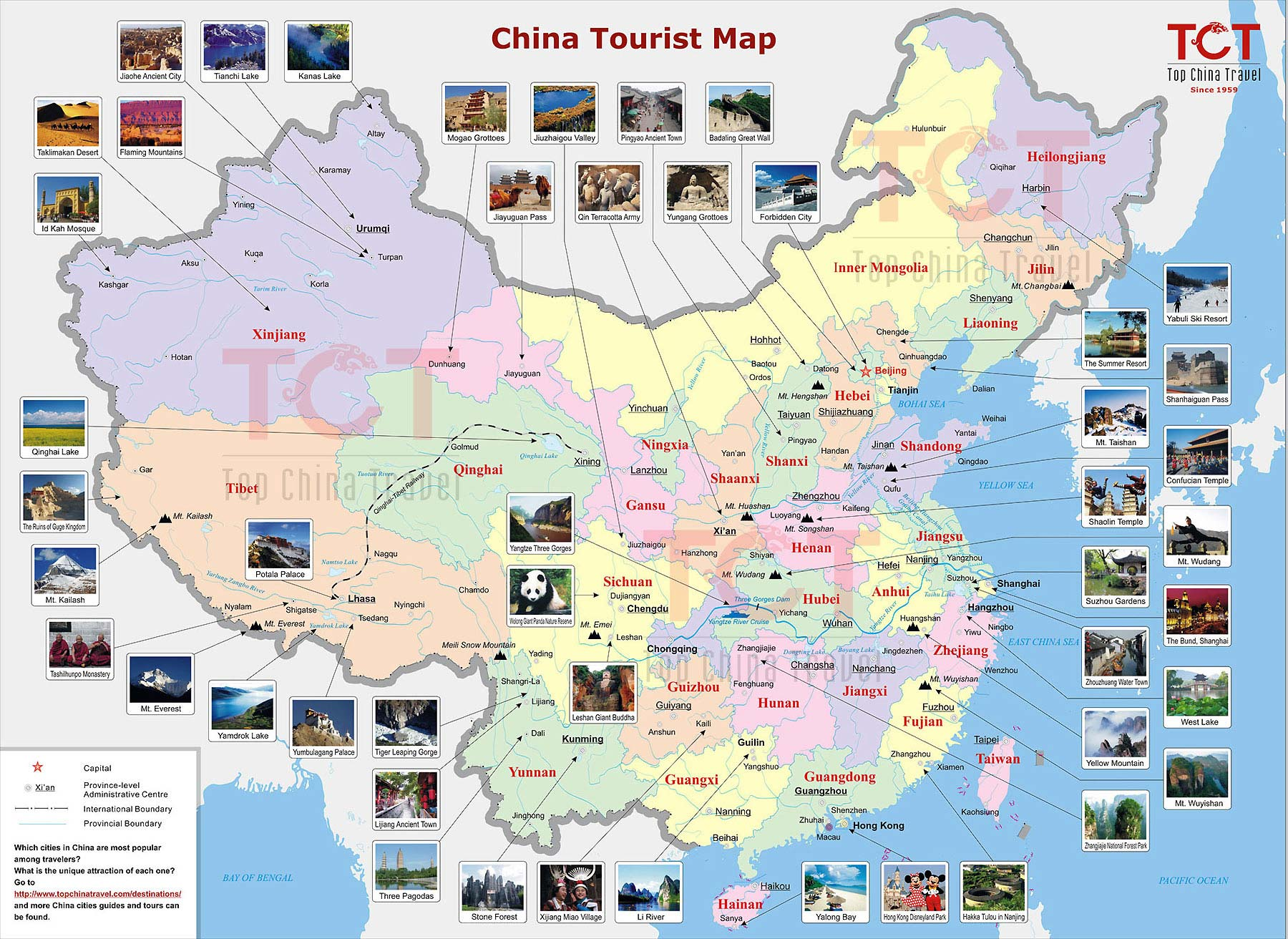 China Tourist Map, Tourist Map of China, China Travel Map on