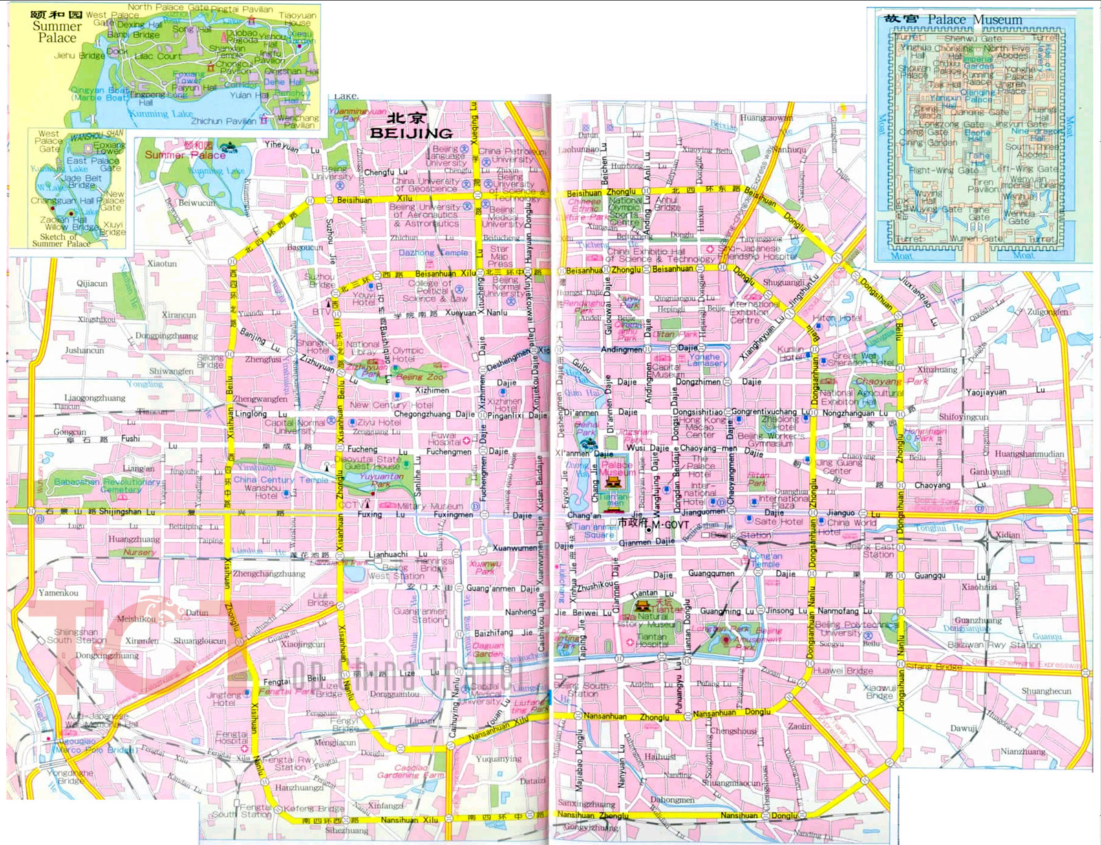 Beijing City Map Beijing Map in English Map of Beijing China – Beijing Tourist Attractions Map