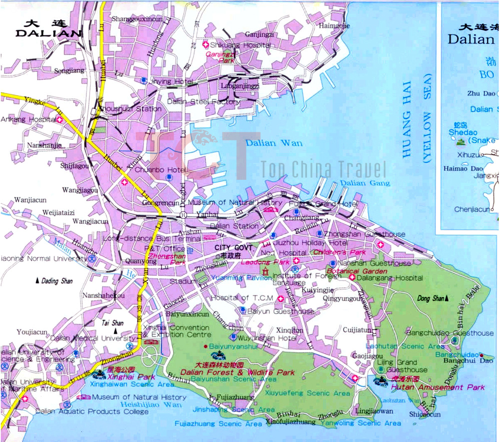 Dalian Maps Map of Dalian China Dalian Tourist mapsDalian City Map