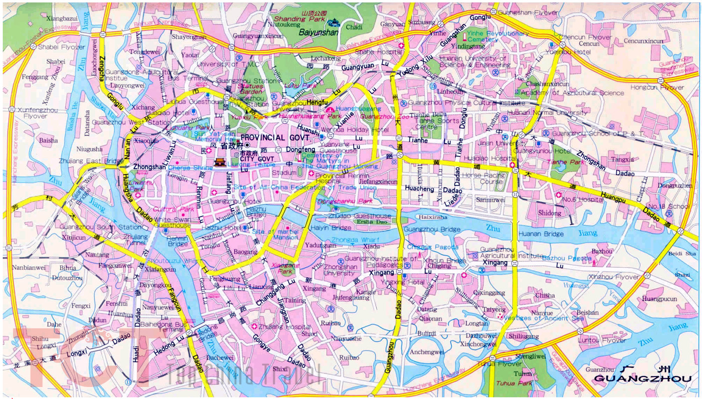 Guangzhou City Map, Guangzhou Street Map, Guangzhou Map in English ...