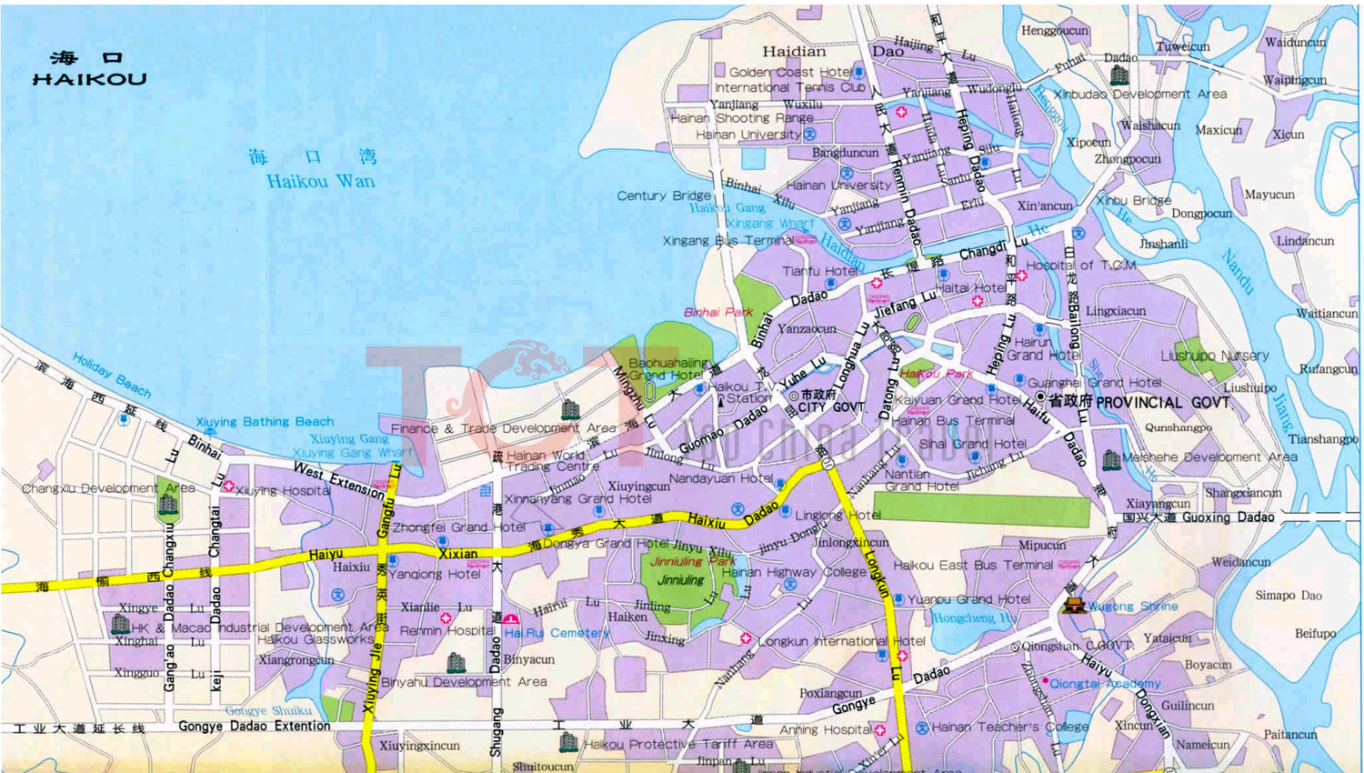 Haikou China  City pictures : Haikou Maps Map of Haikou China Haikou Tourist maps Haikou City Map