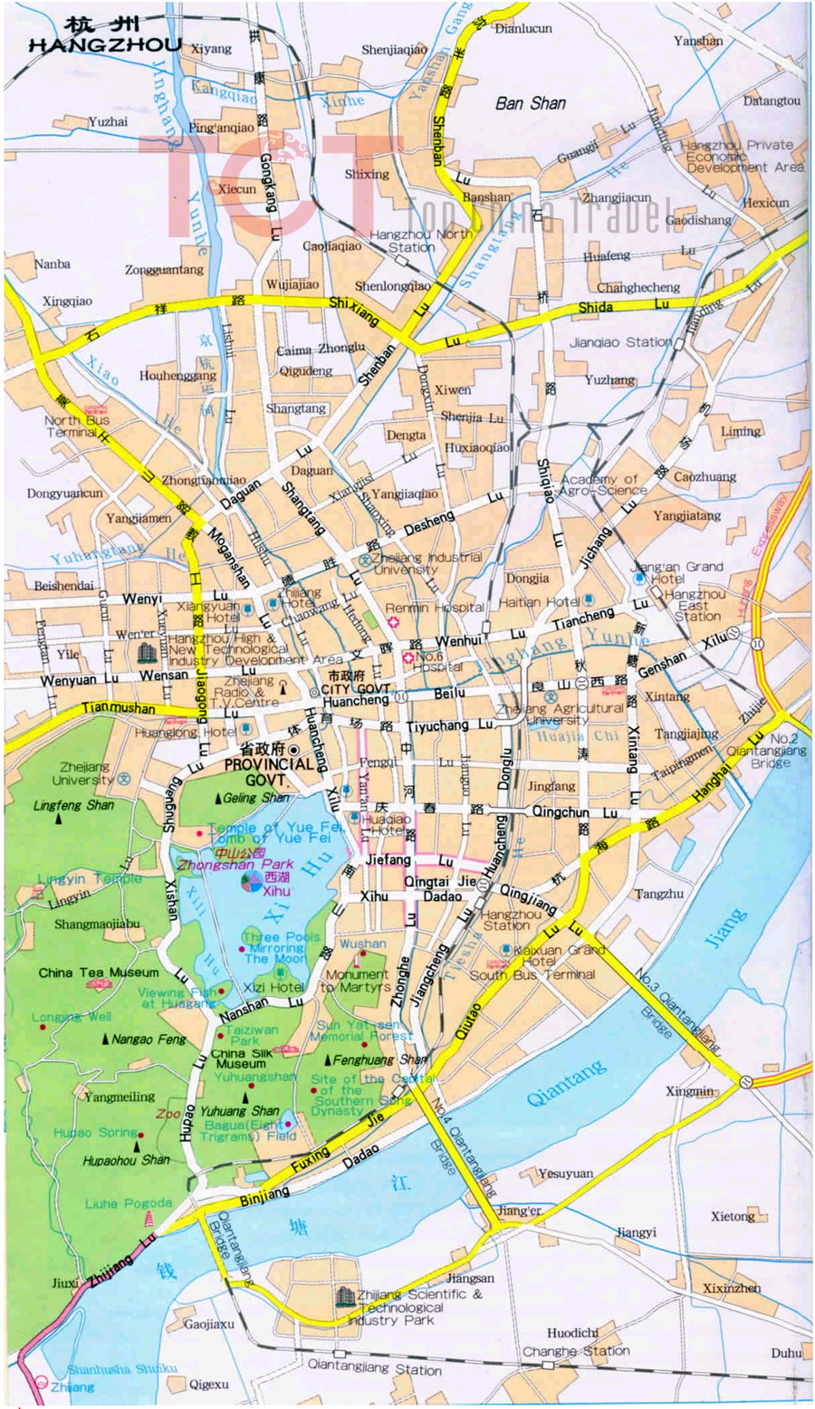 Hangzhou China  city images : Hangzhou City Map, Hangzhou Street Map, Map of Hangzhou China