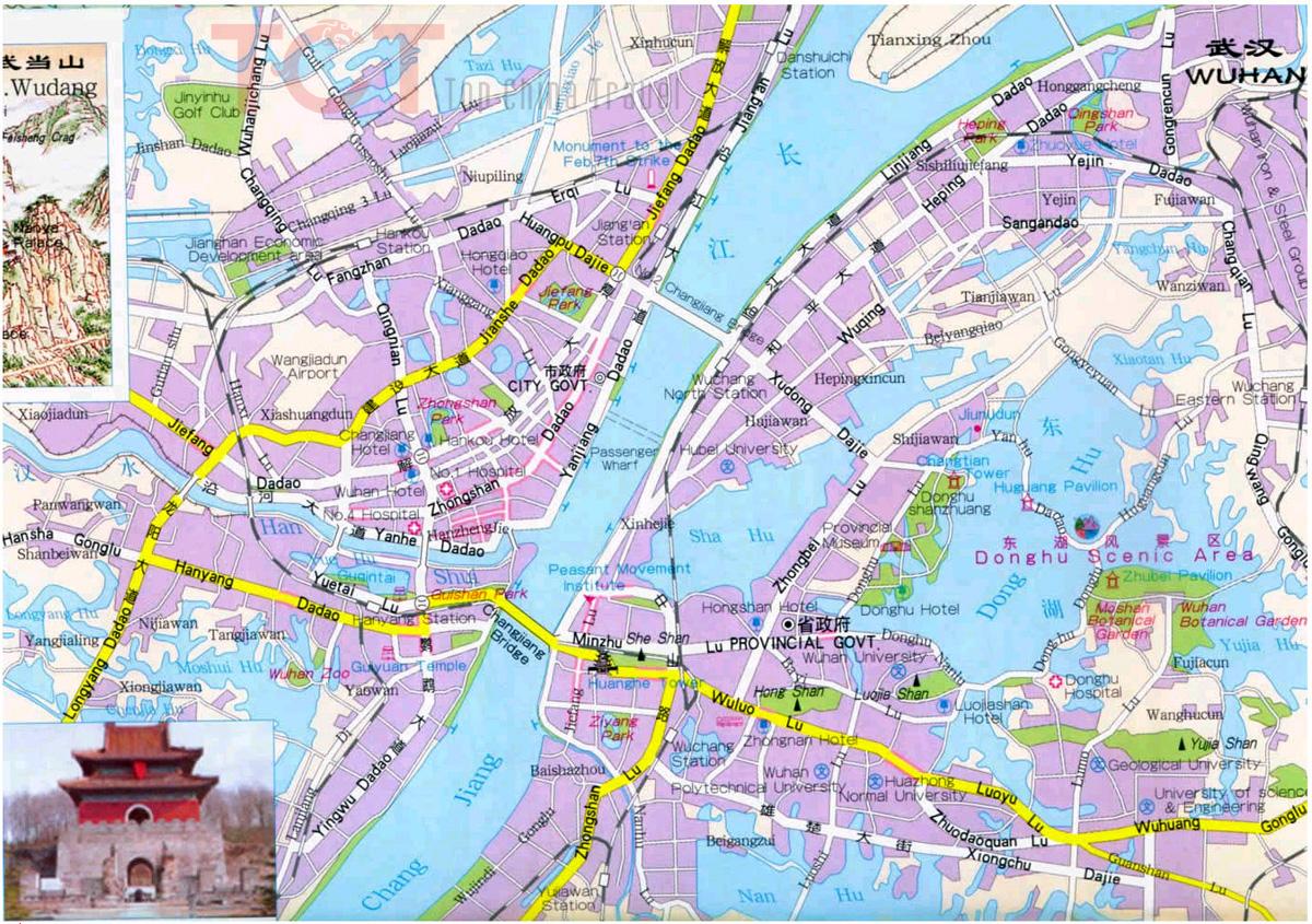 Wuhan Maps Map of Wuhan China Wuhan Tourist mapsWuhan City Map